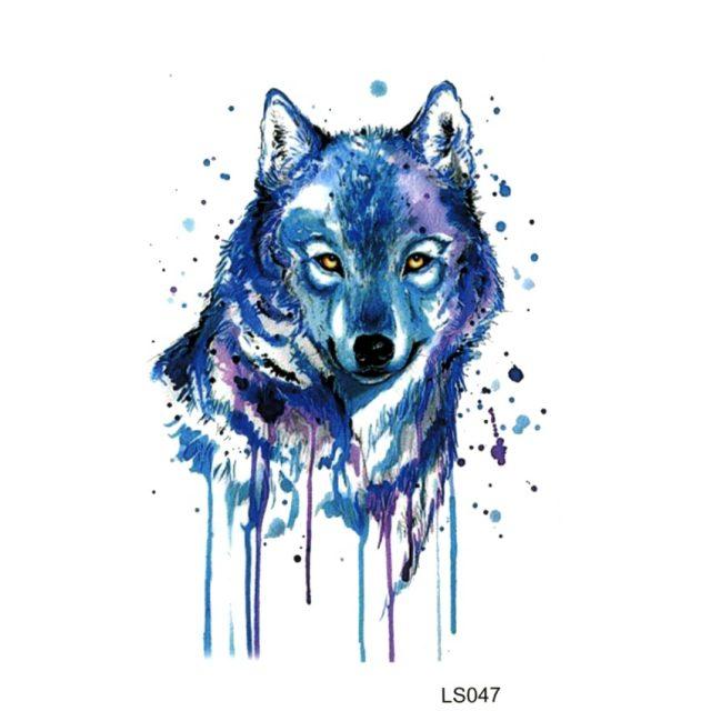 Blue Wolf Temporary Tattoo