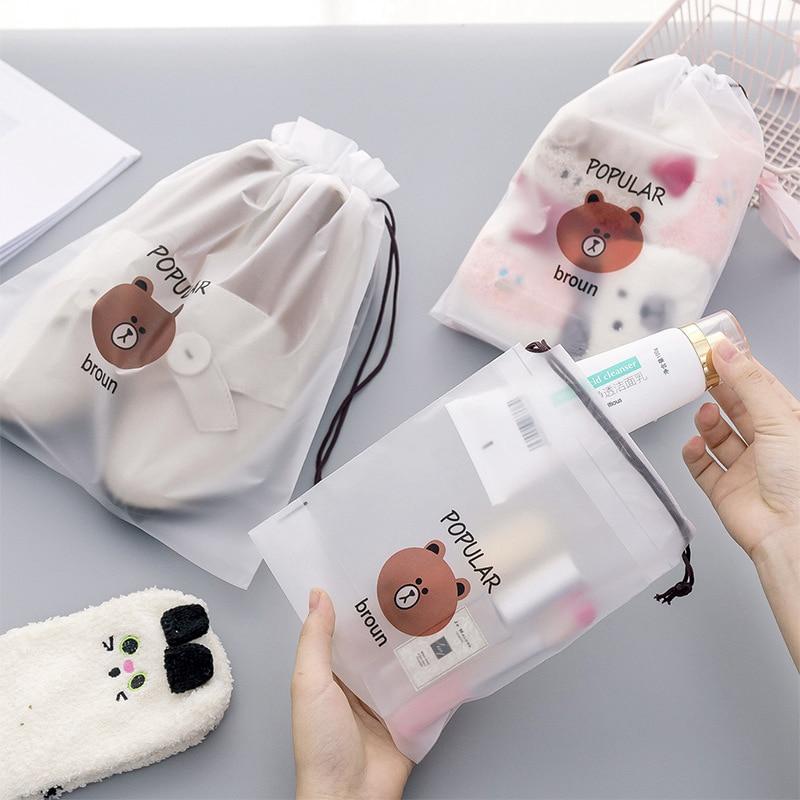 1 Set/3 Sizes Brown Bear Transparent Cosmetic Bag 2